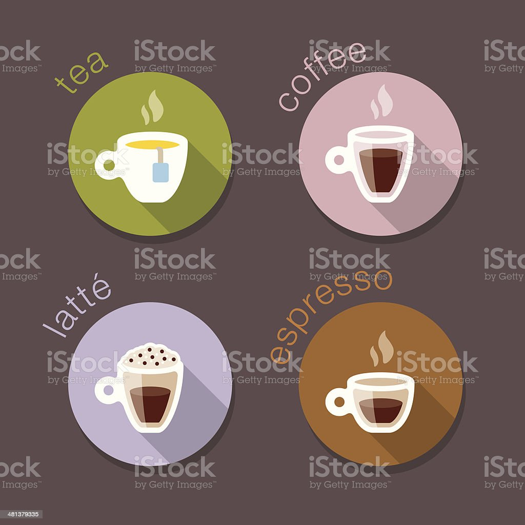 Coffee Drink Recipes icons stickers vector art illustration
