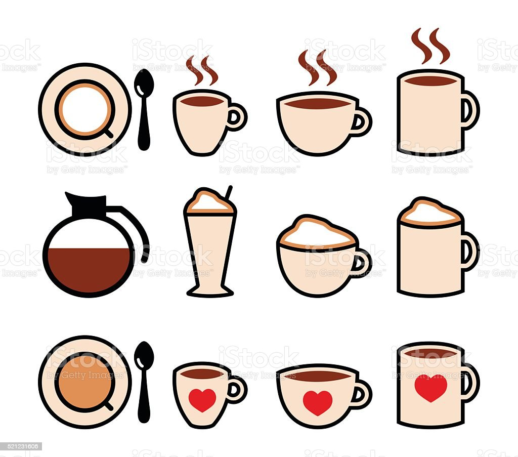 Coffee drinks, coffee makers icons set vector art illustration
