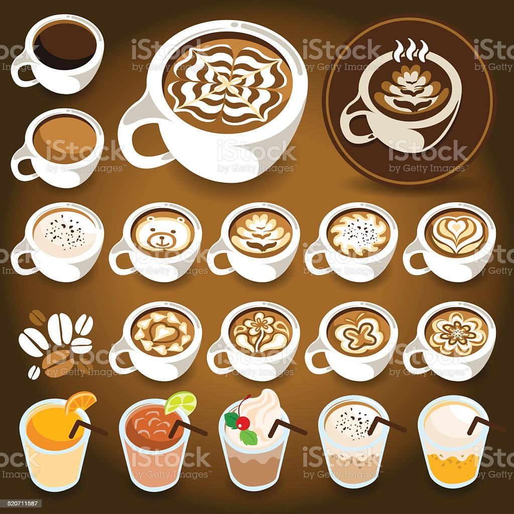 Coffee Drinks & Latte Art White Cup vector art illustration