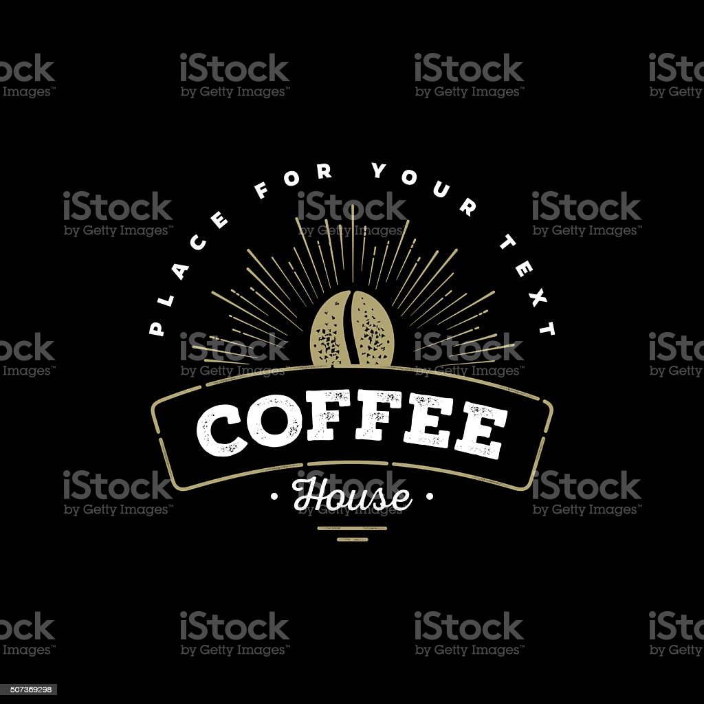 Coffee emblem black vector art illustration