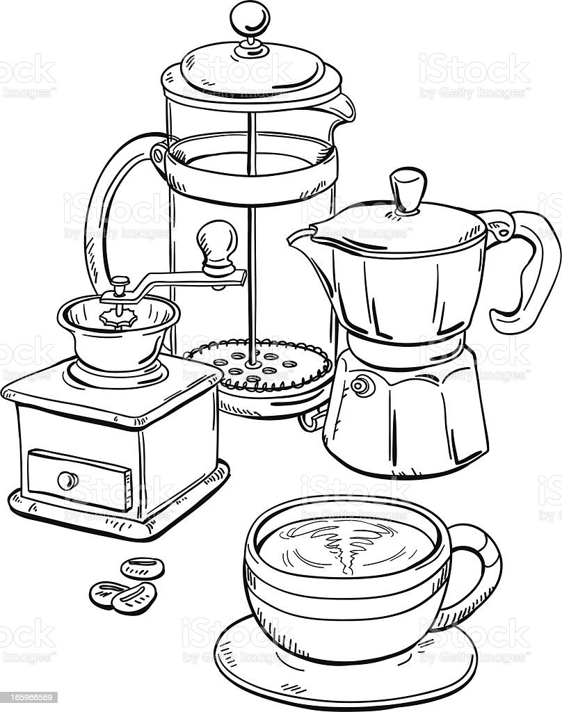 Coffee equipment in black and white vector art illustration