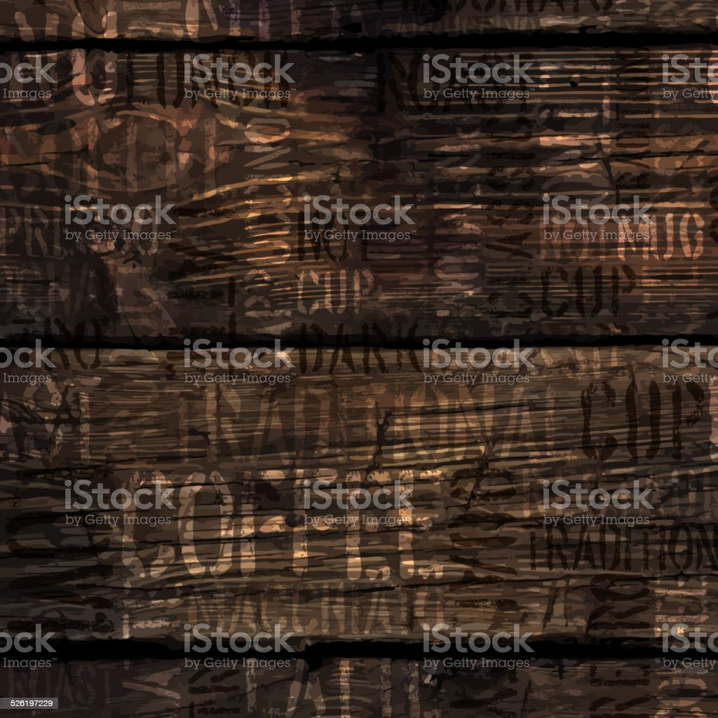 Coffee Experience Words On Wooden Texture. Vector. vector art illustration