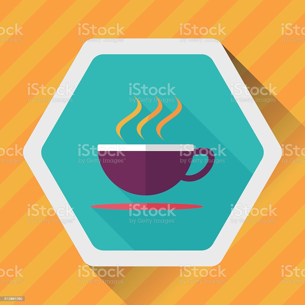 coffee flat icon with long shadow vector art illustration