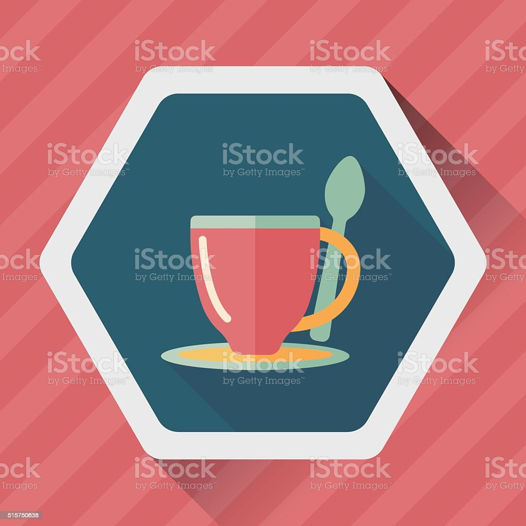 coffee flat icon with long shadow,eps10 vector art illustration