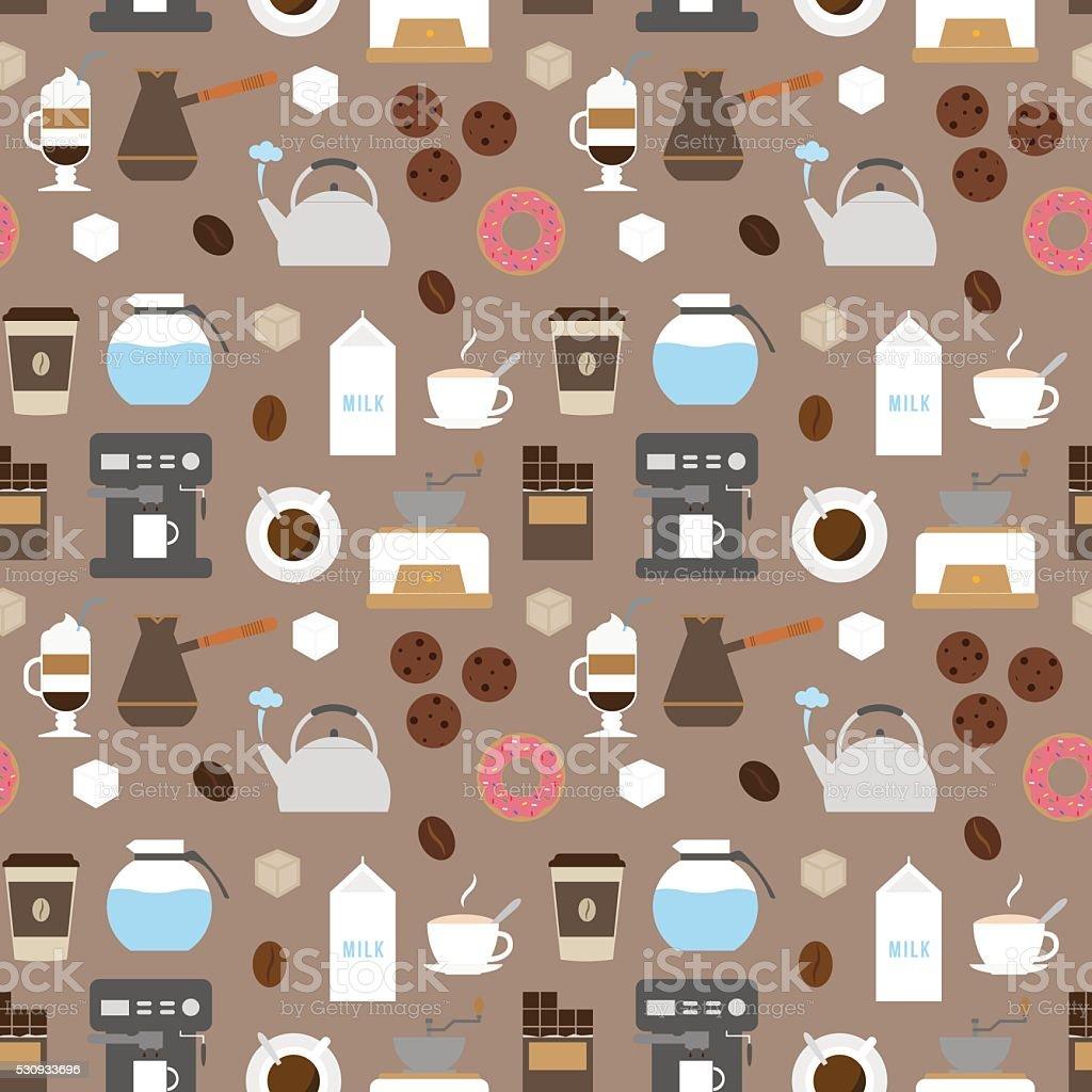 Coffee flat icons seamless pattern vector art illustration