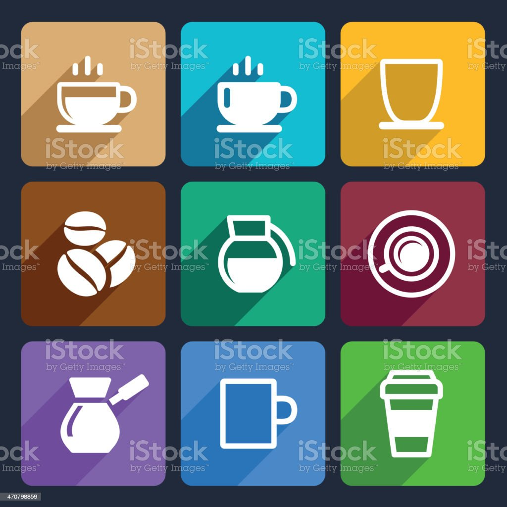 Coffee Flat Icons Set 43 royalty-free stock vector art