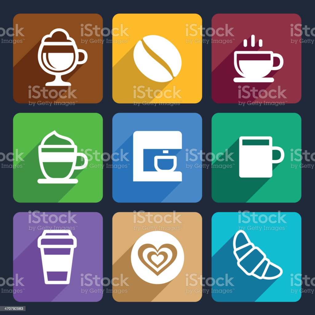 Coffee Flat Icons Set 44 royalty-free stock vector art