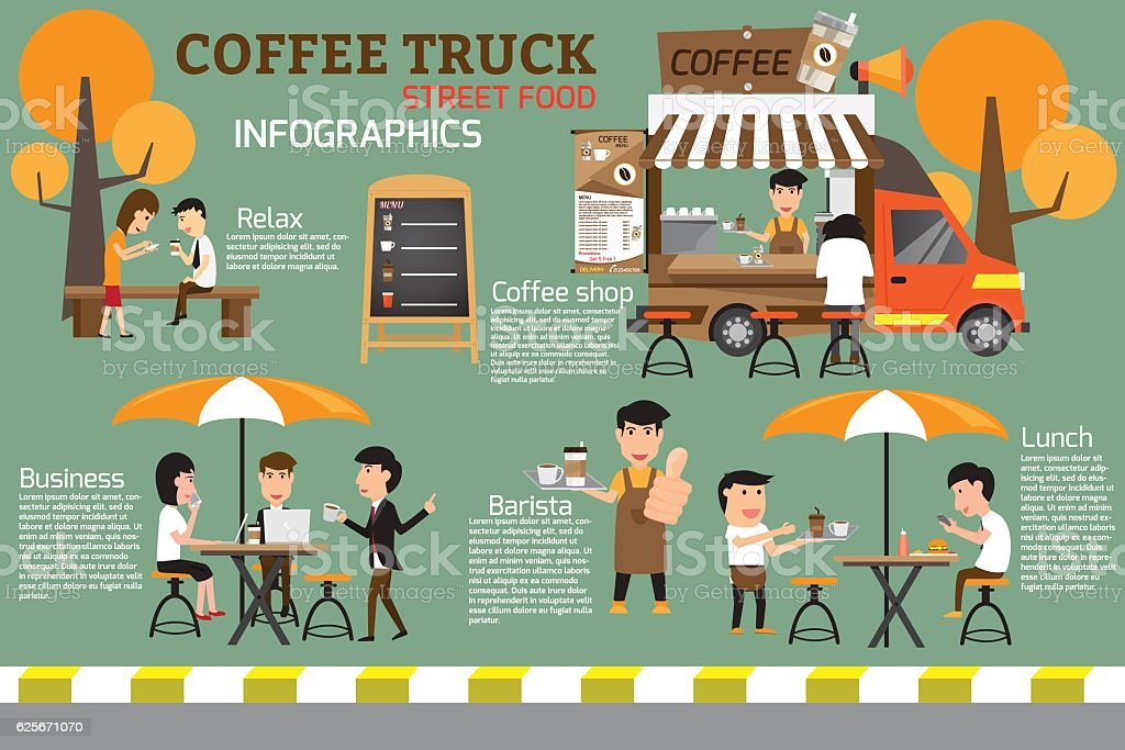 Coffee food truck on street infographics. people relax and rest vector art illustration