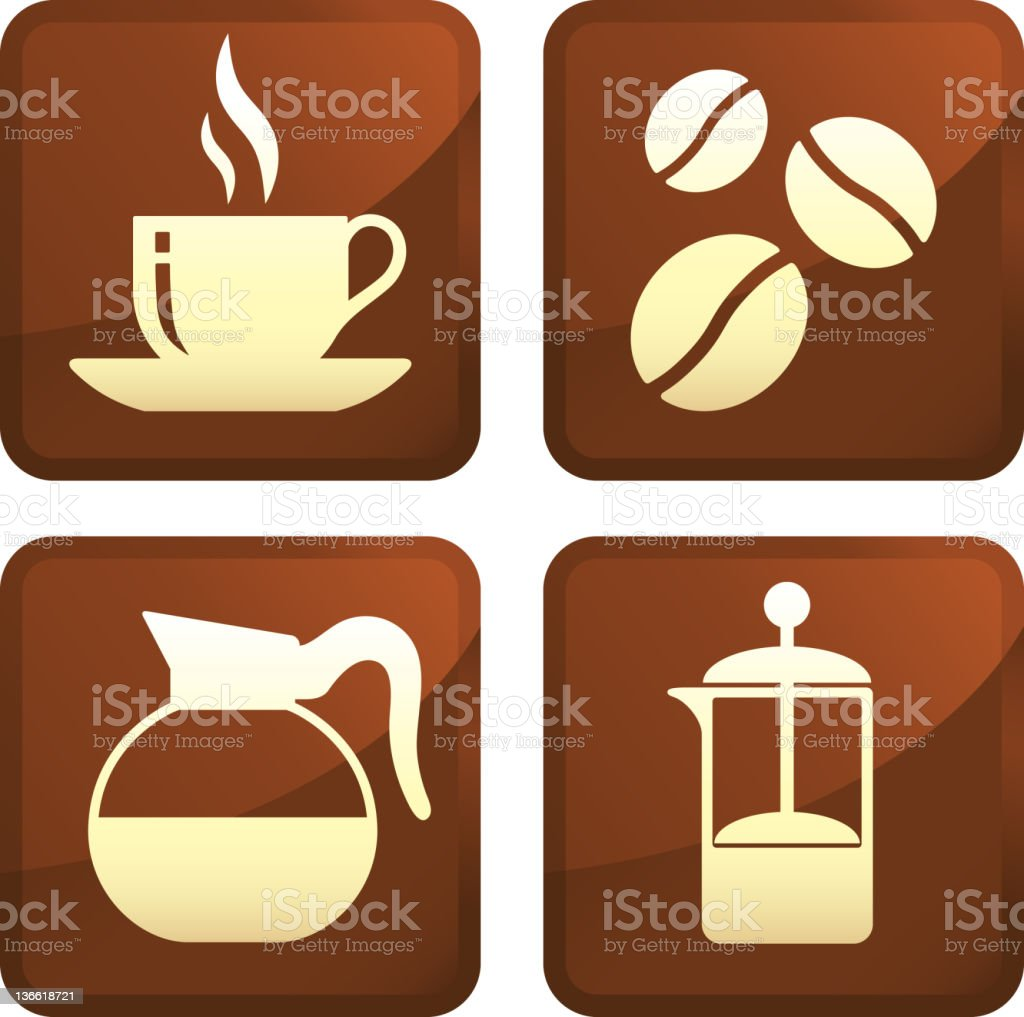 coffee four royalty free vector icon set stickers royalty-free stock vector art