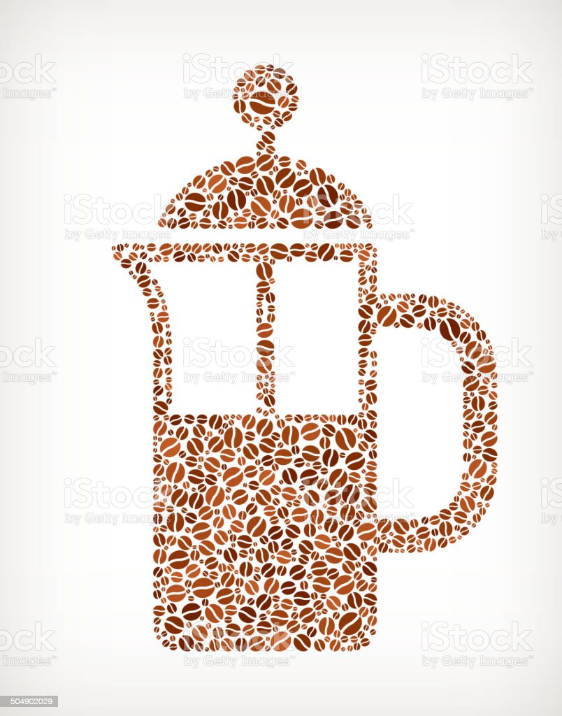 Coffee French press Bean Pattern royalty-free stock vector art