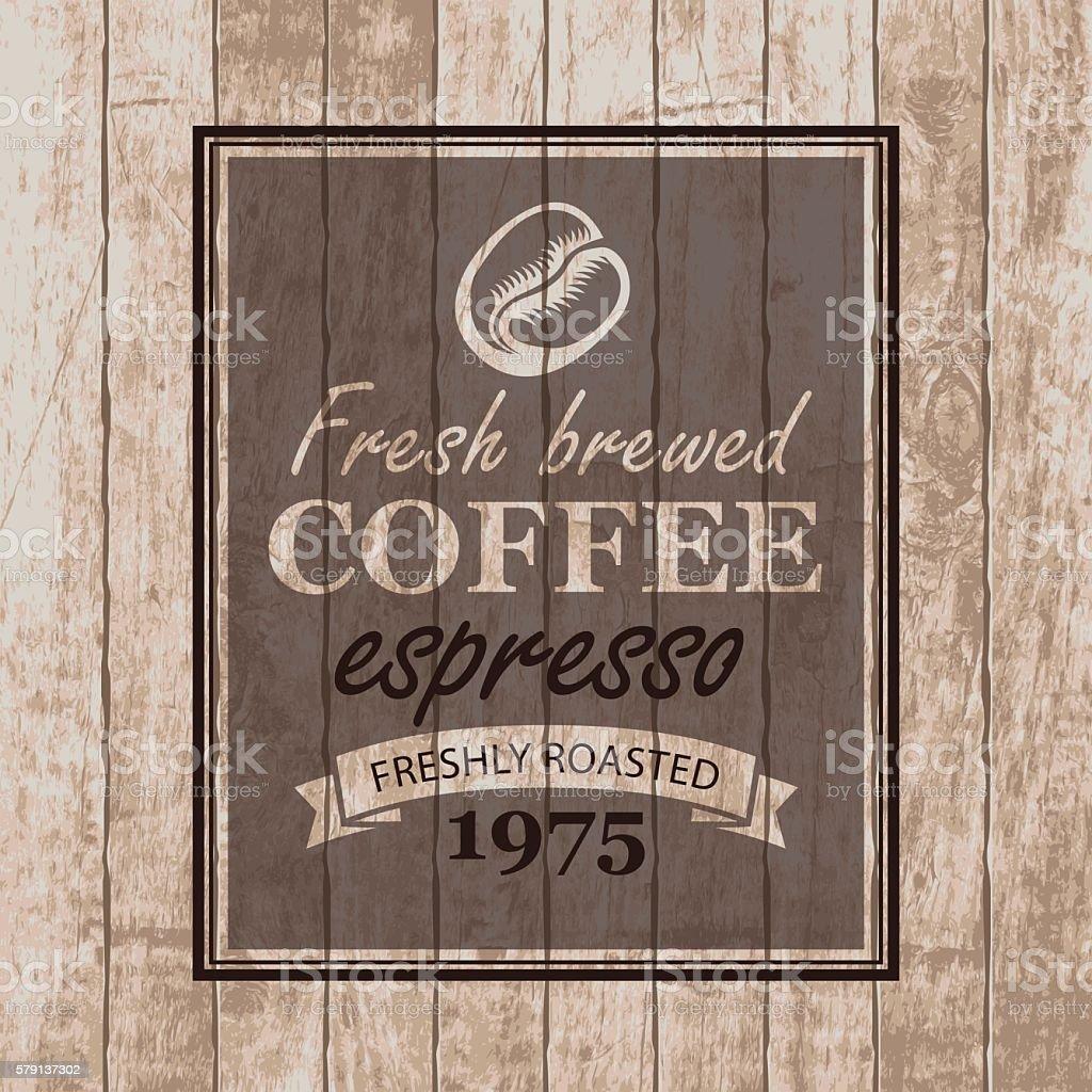 coffee grains on wooden planks vector art illustration