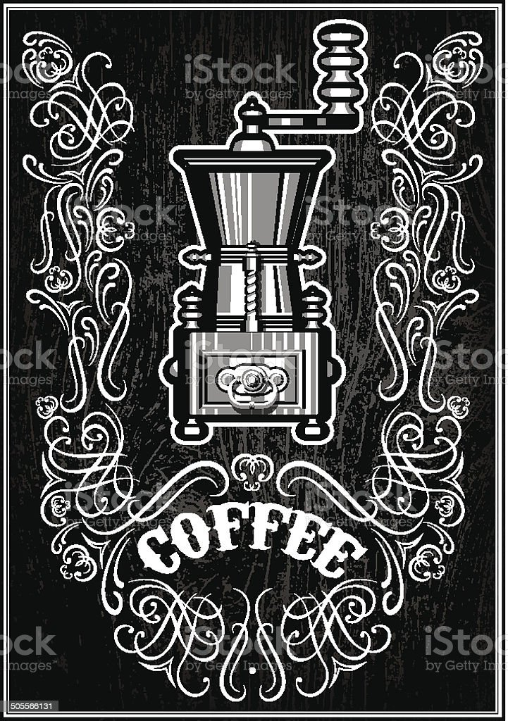 coffee grinder with ornament and inscription vector art illustration