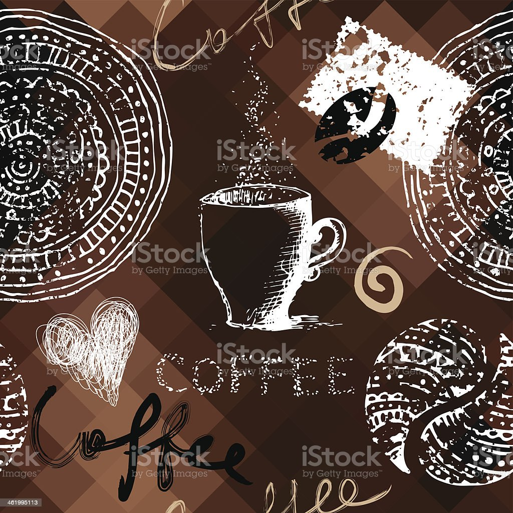 Coffee grunge pattern on polygonal background royalty-free stock vector art