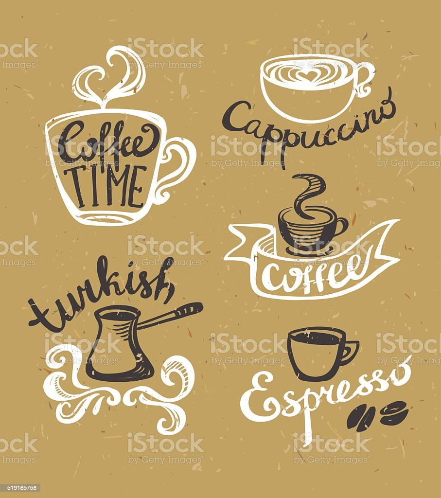 Coffee hand drawn Labels. Logo template collection. vector art illustration