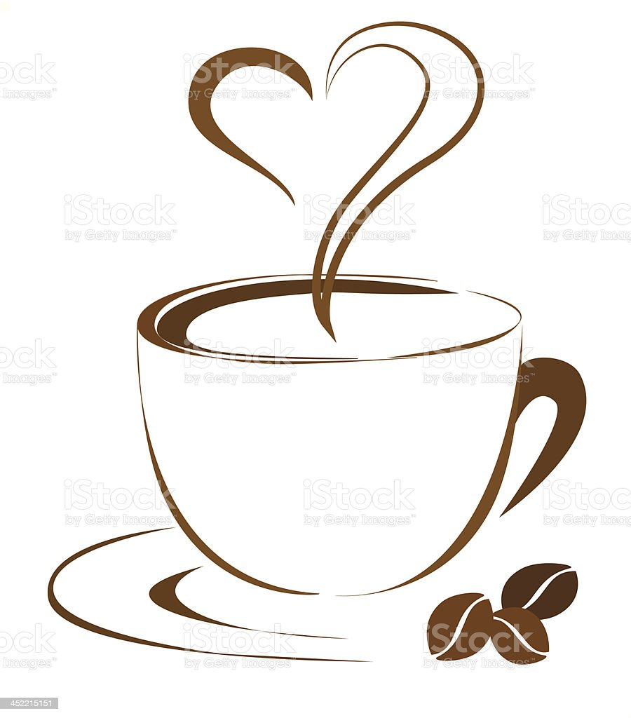 Coffee heart vector art illustration