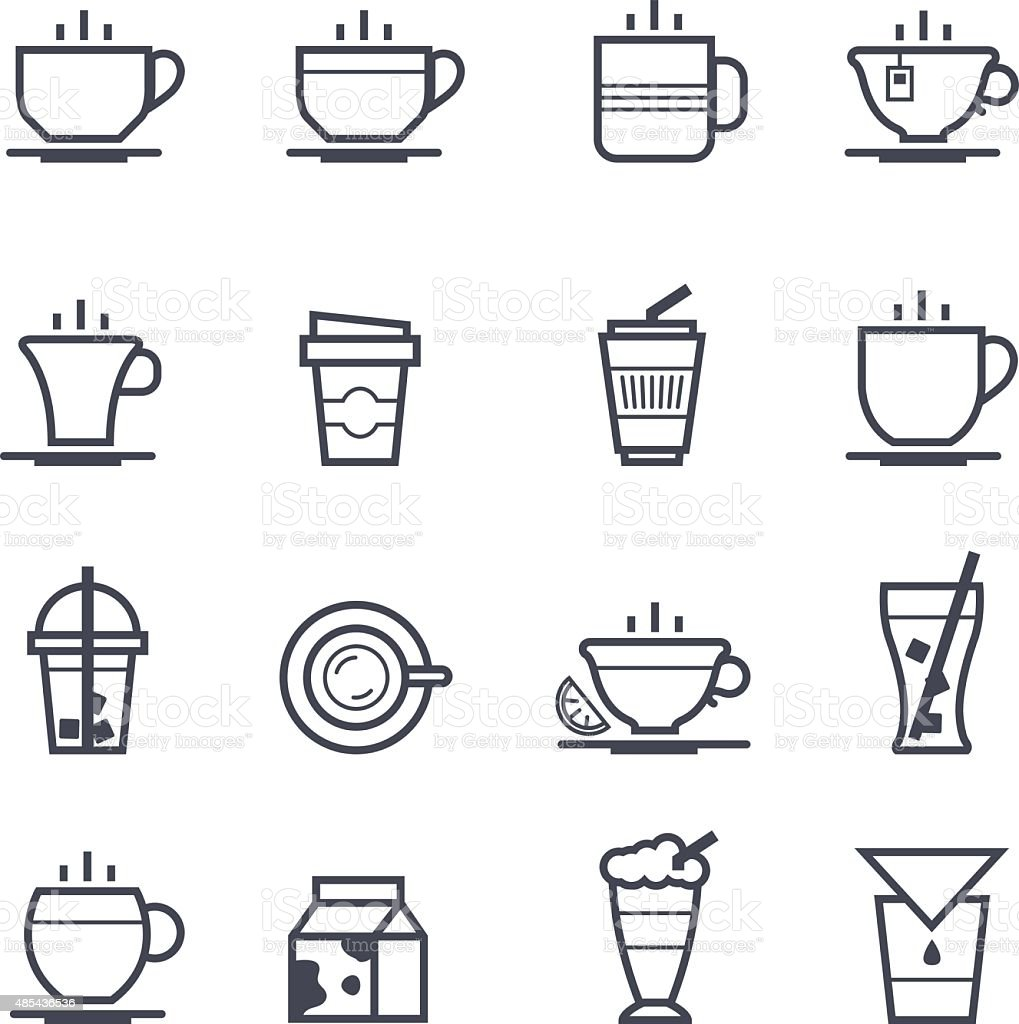 Coffee Icon Bold Stroke vector art illustration