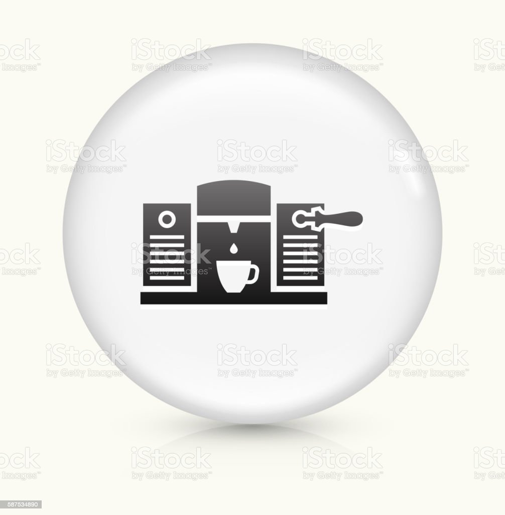 Coffee icon on white round vector button vector art illustration