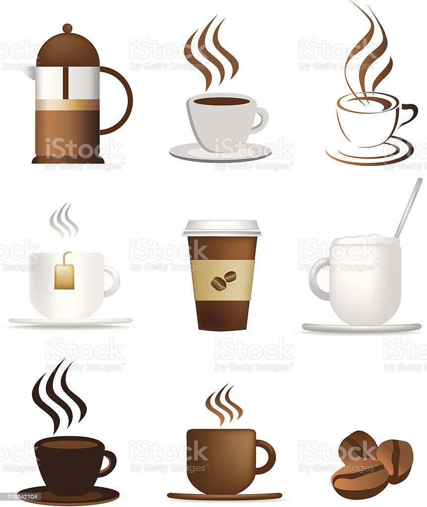 Kaffee-icon-set Lizenzfreies vektor illustration