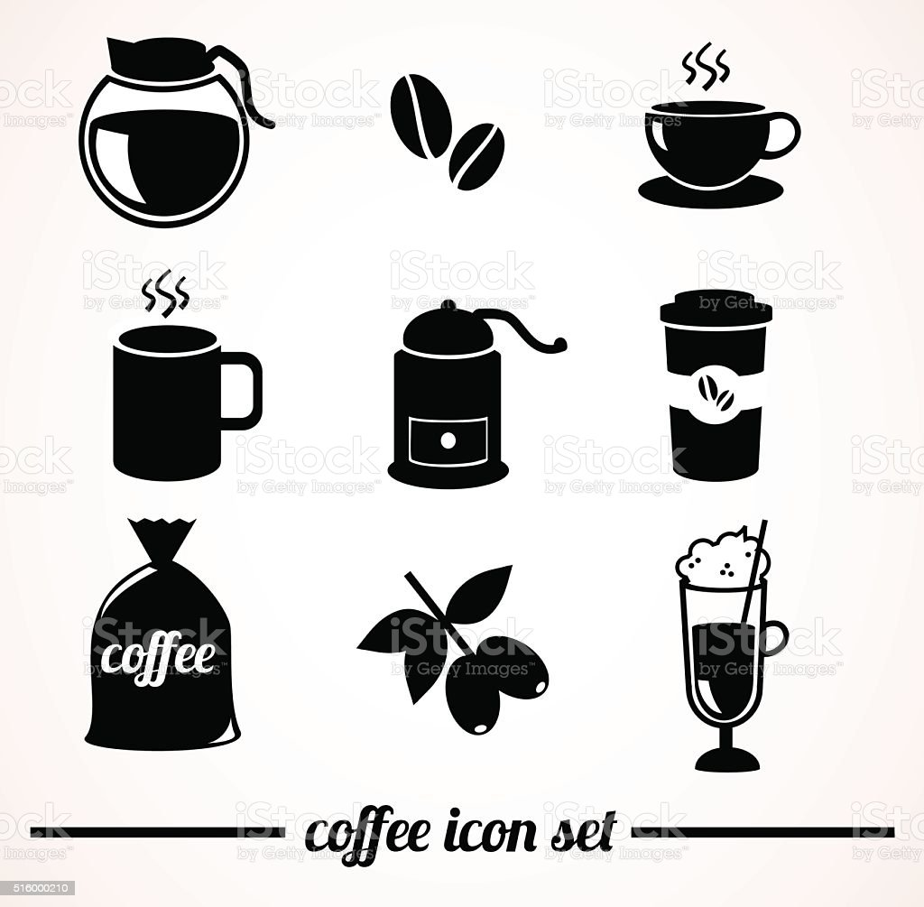 Coffee icon set. vector art illustration