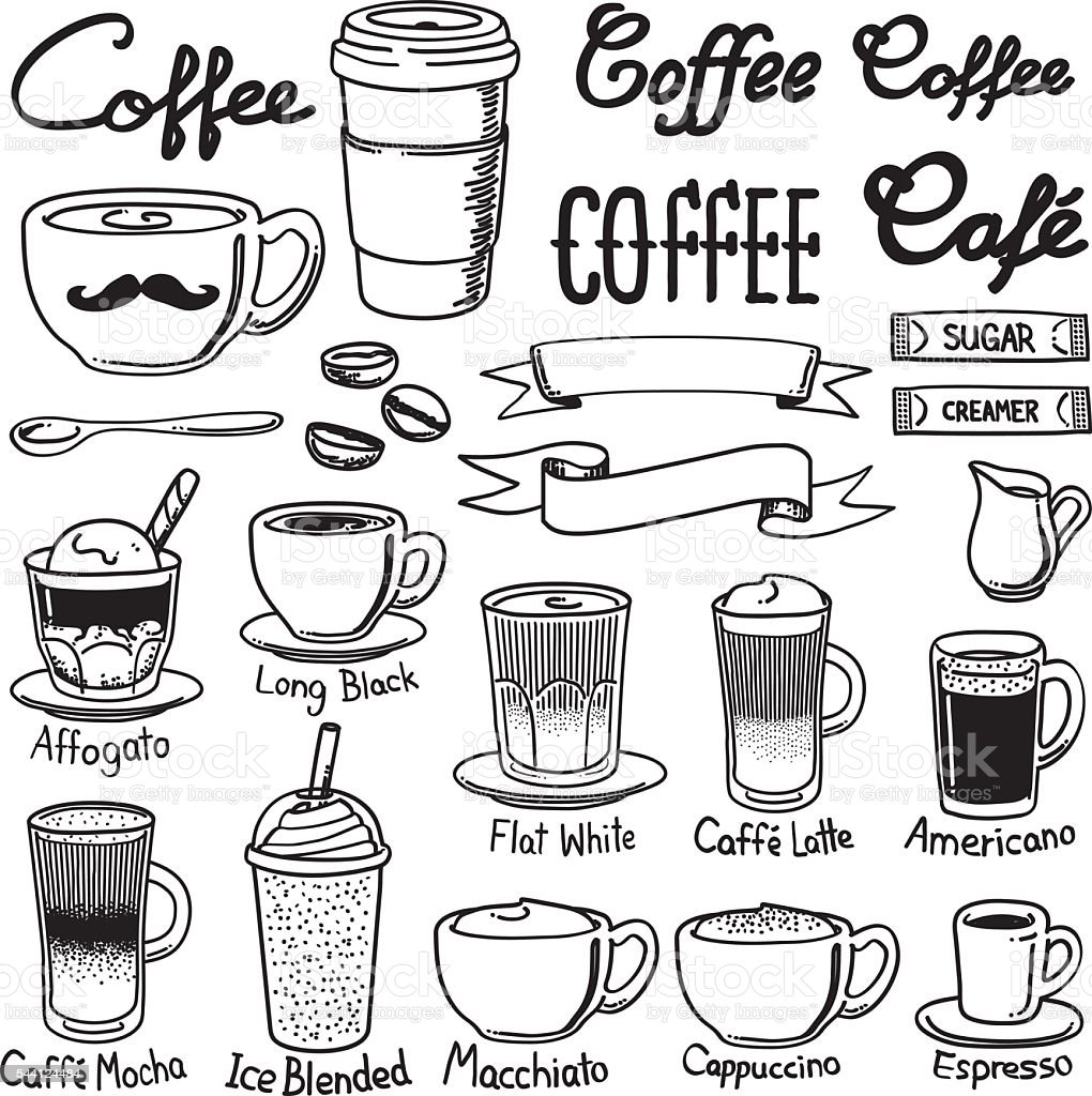 coffee icon sets vector art illustration