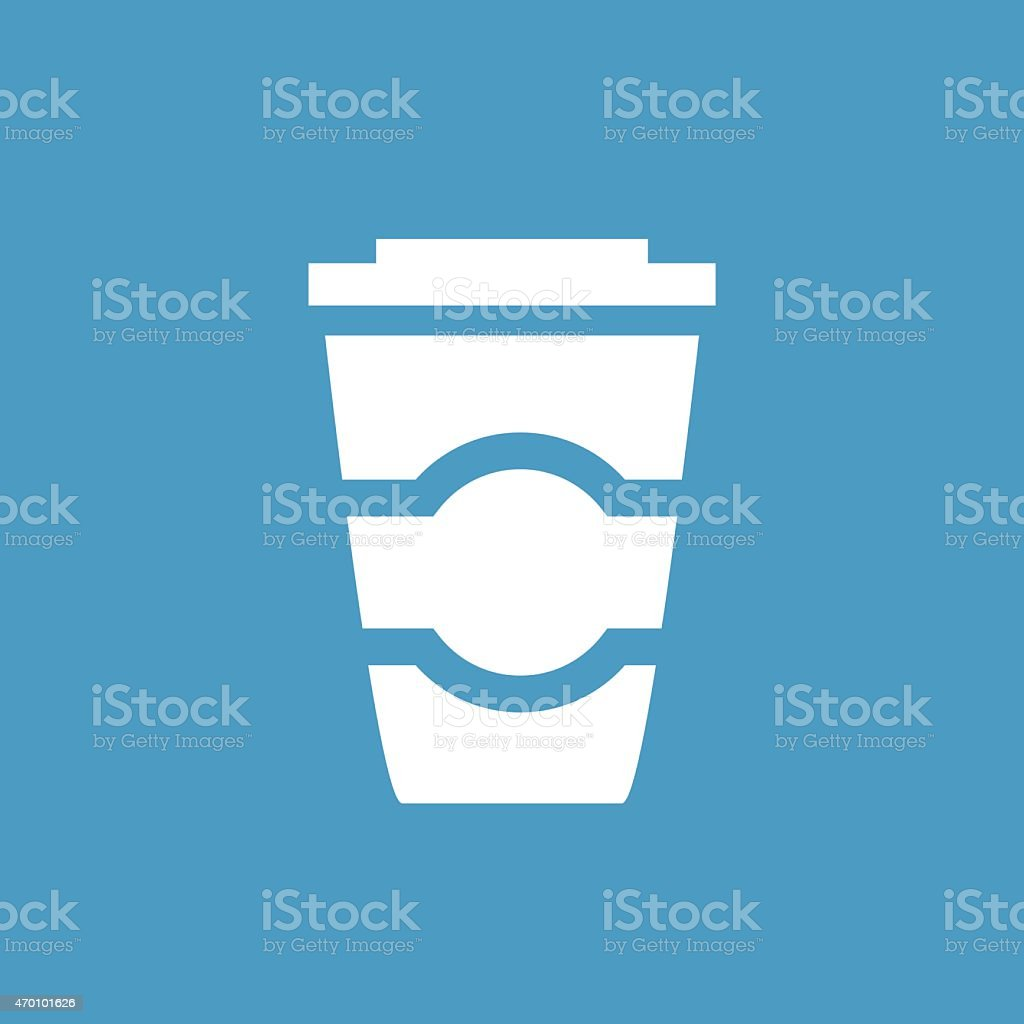 coffee icon, white on the blue background vector art illustration