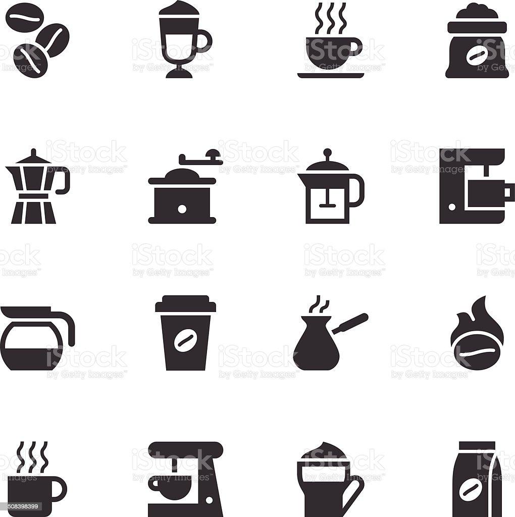 Coffee Icons - Black vector art illustration