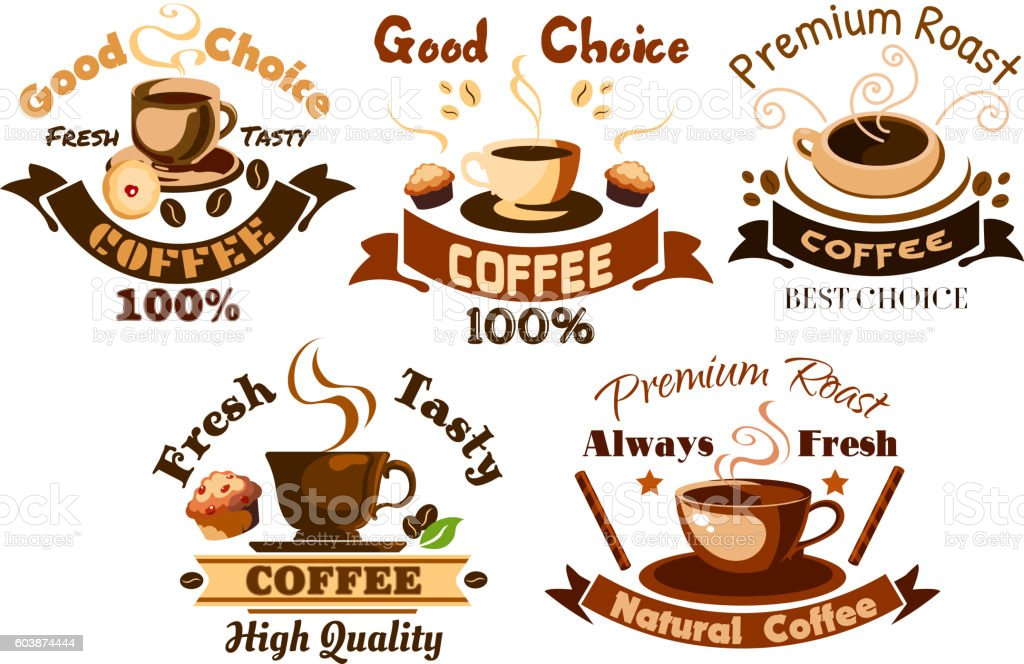 Coffee icons. Cafe signboards elements vector art illustration