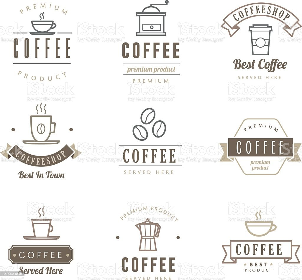 Coffee Icons - Labels vector art illustration