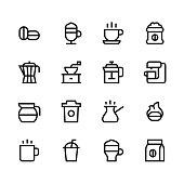 Coffee icons - line - black series