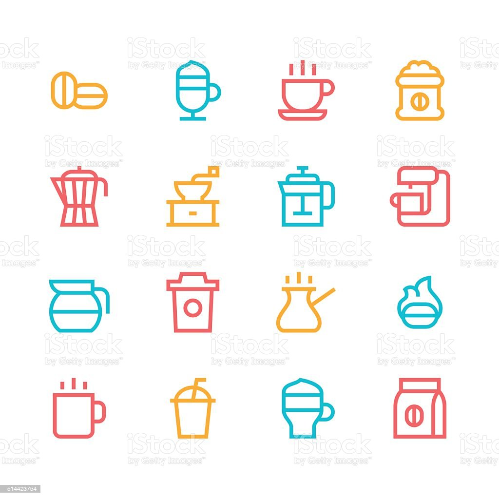 Coffee icons - line - color series vector art illustration