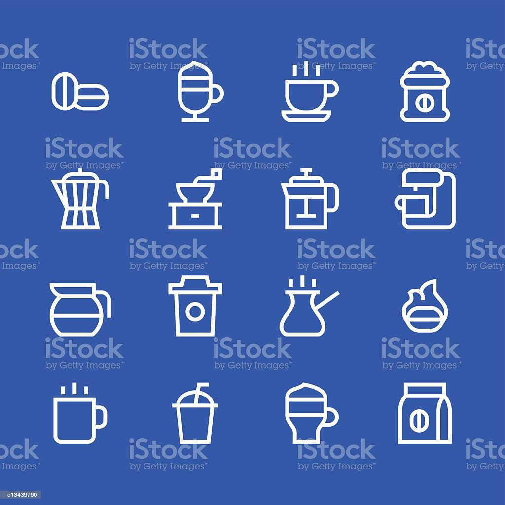 Coffee icons - line - white series vector art illustration