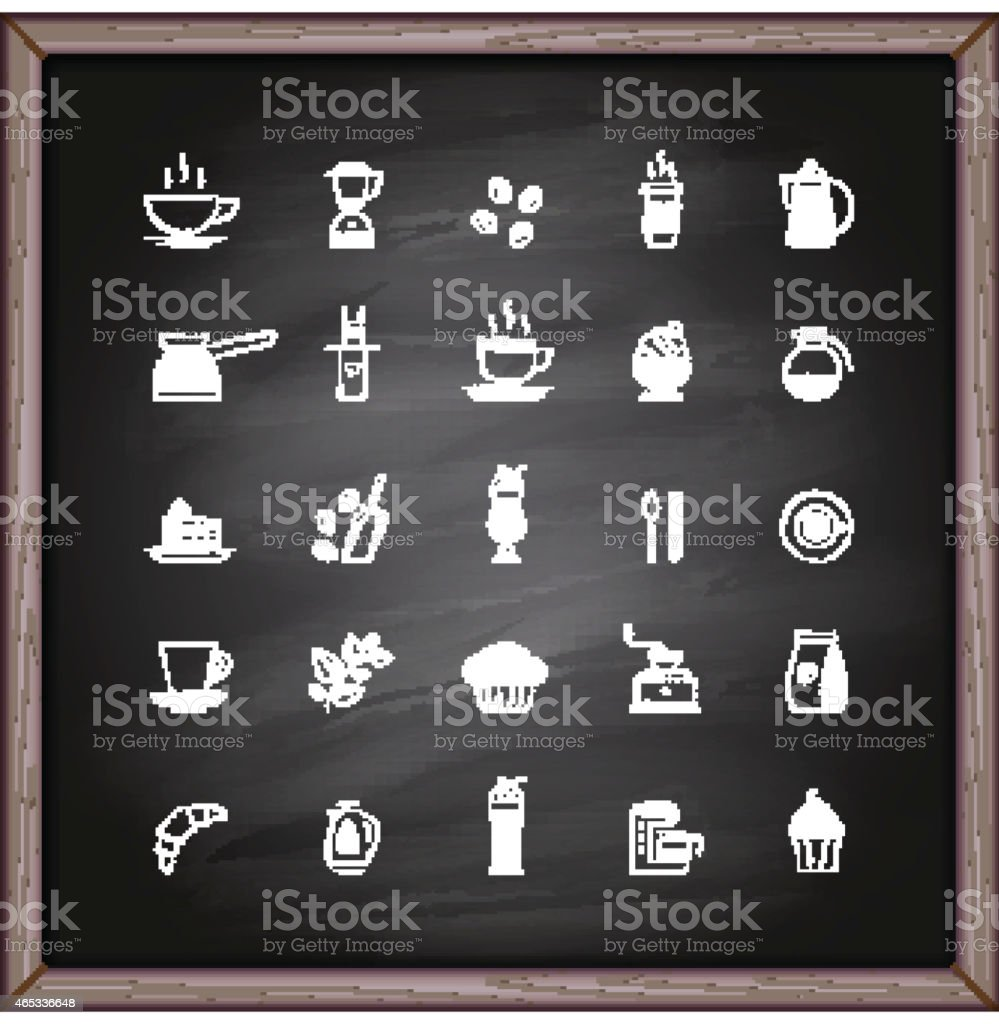 Coffee icons on chalkboard vector art illustration
