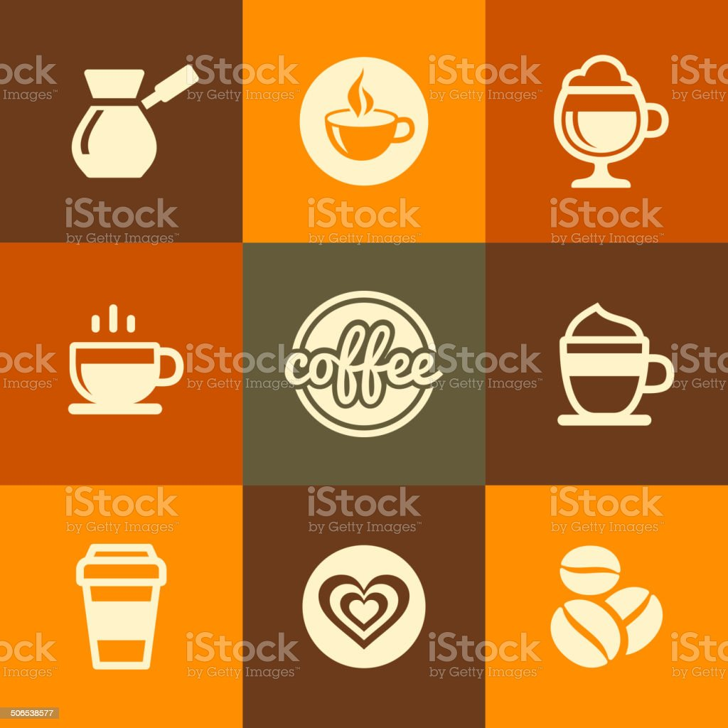 Coffee Icons Set in Flat Design Color Style. Vector royalty-free stock vector art