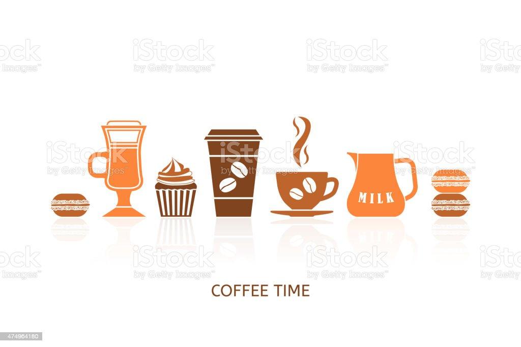 Coffee icons set vector art illustration