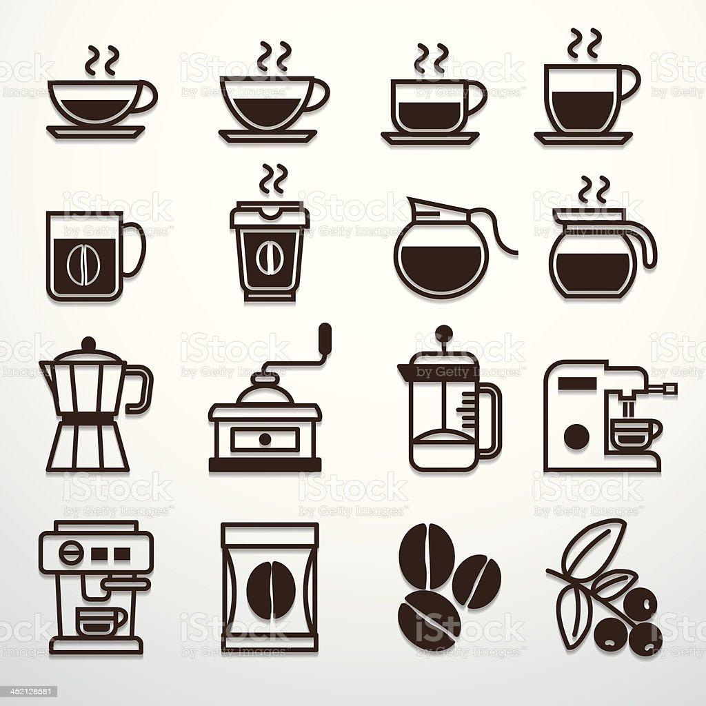 Coffee icons set vector vector art illustration