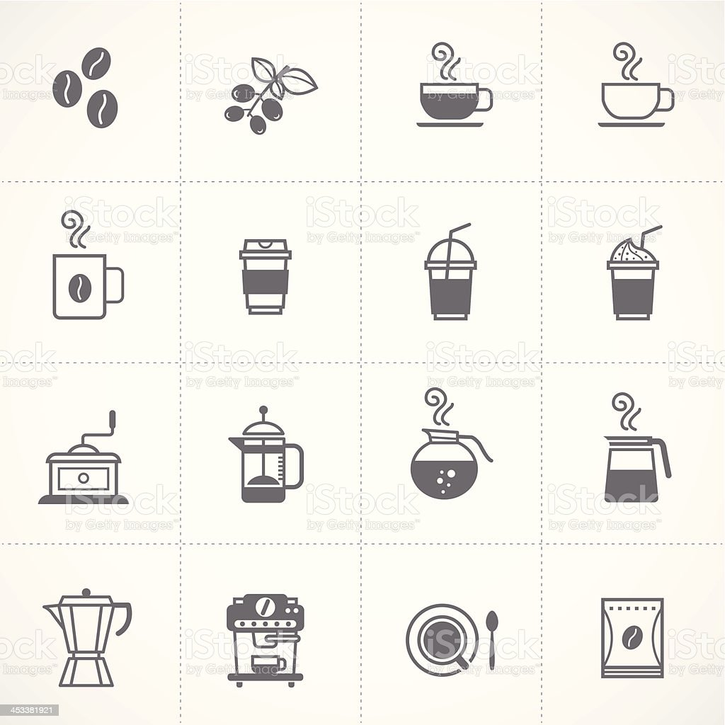 coffee icons set vector vector art illustration