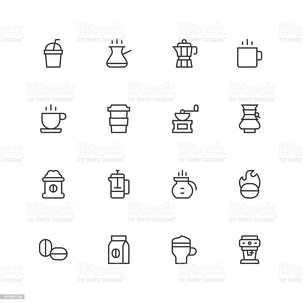 Coffee Icons - Unique  - Line Series vector art illustration