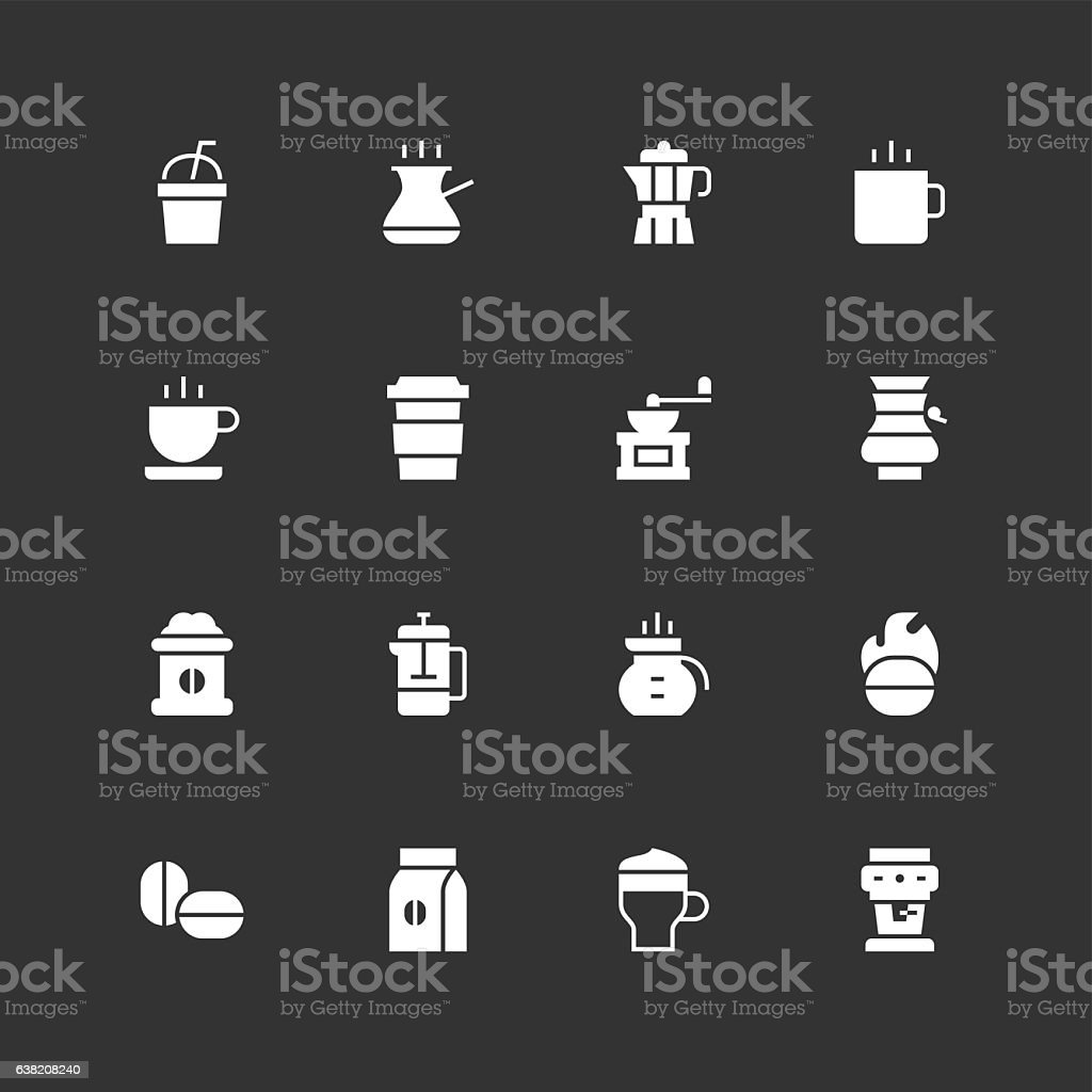 Coffee Icons - Unique - White vector art illustration