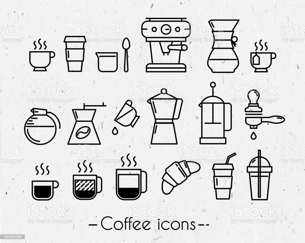 Coffee icons with paper vector art illustration