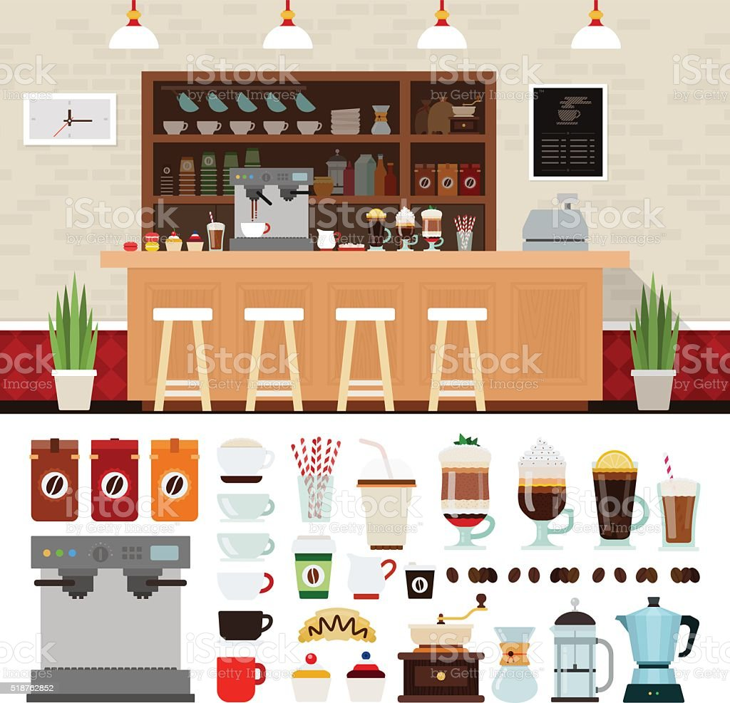 Coffee illustration set with shop interior background vector art illustration