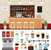Coffee illustration set with shop interior background