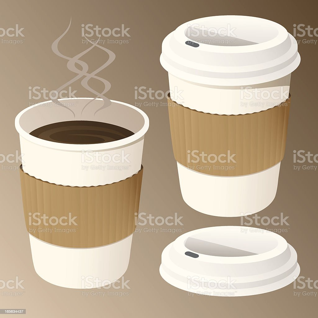 Coffee in Disposable Cups vector art illustration
