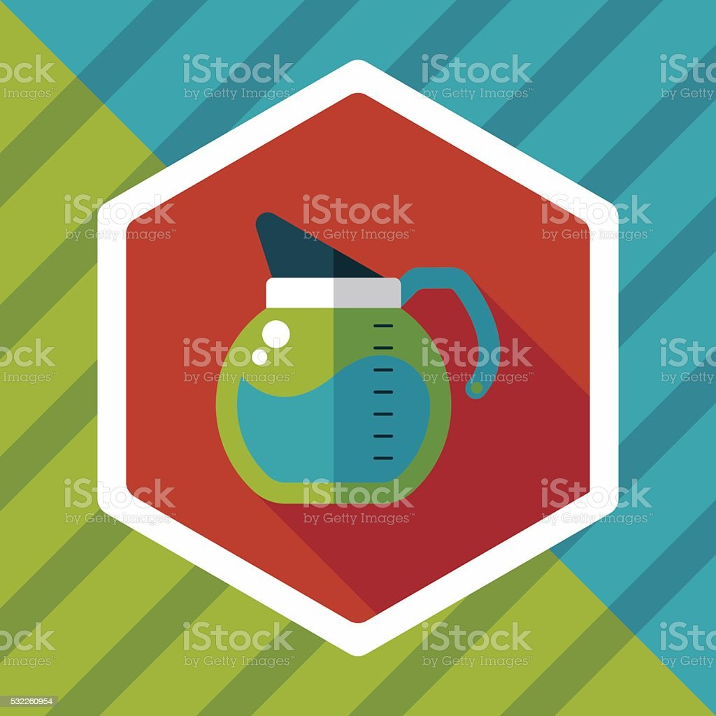 coffee kettle flat icon with long shadow,eps10 vector art illustration