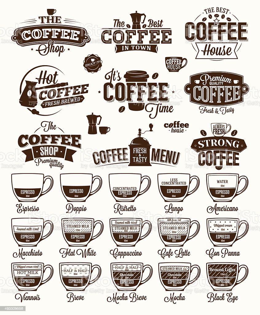 Coffee Label, logo and menu vector art illustration