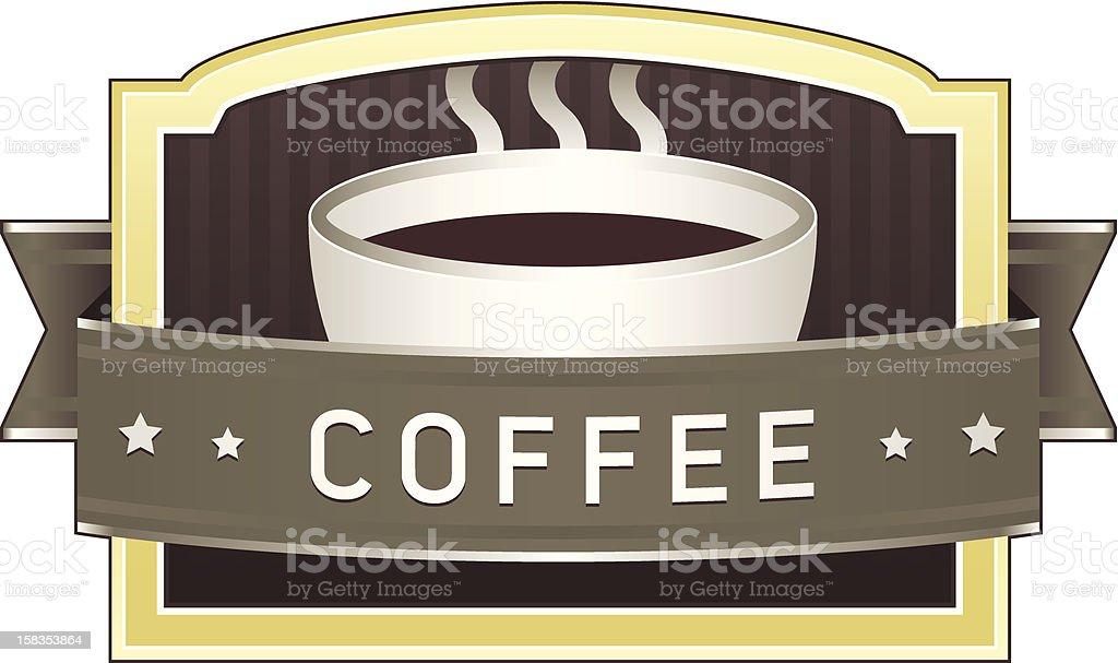 Coffee label or icon vector art illustration