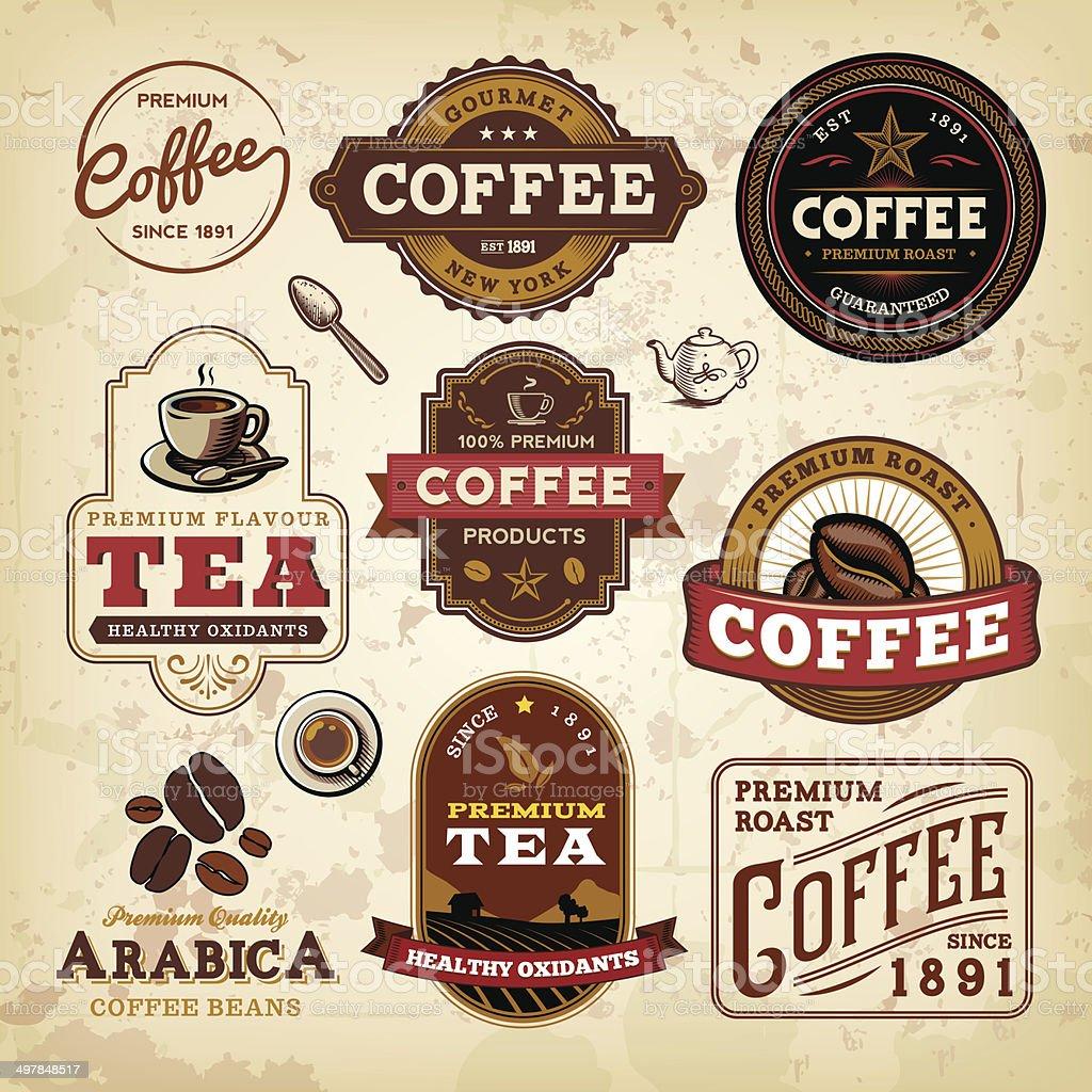 Coffee Label Set vector art illustration