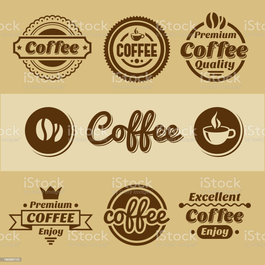 Coffee labels and badges. royalty-free stock vector art