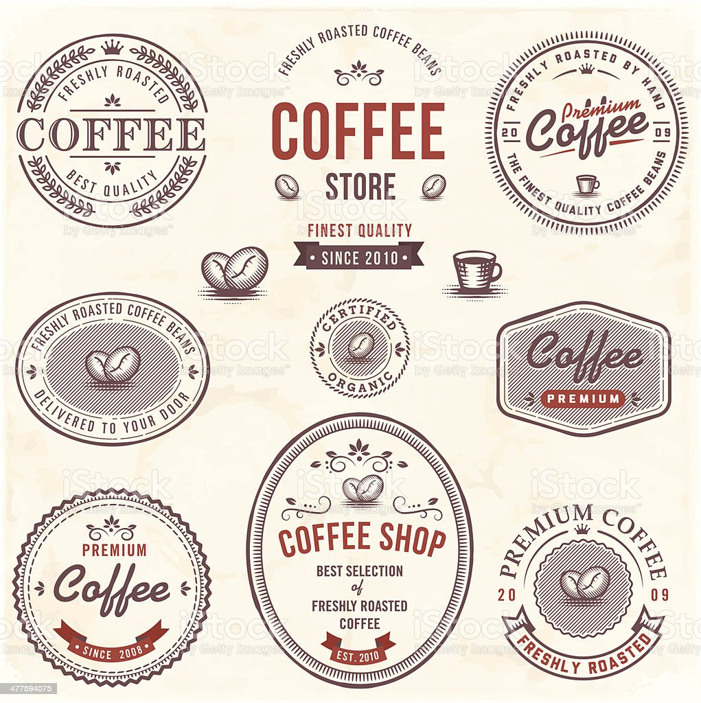 Coffee Labels Set vector art illustration
