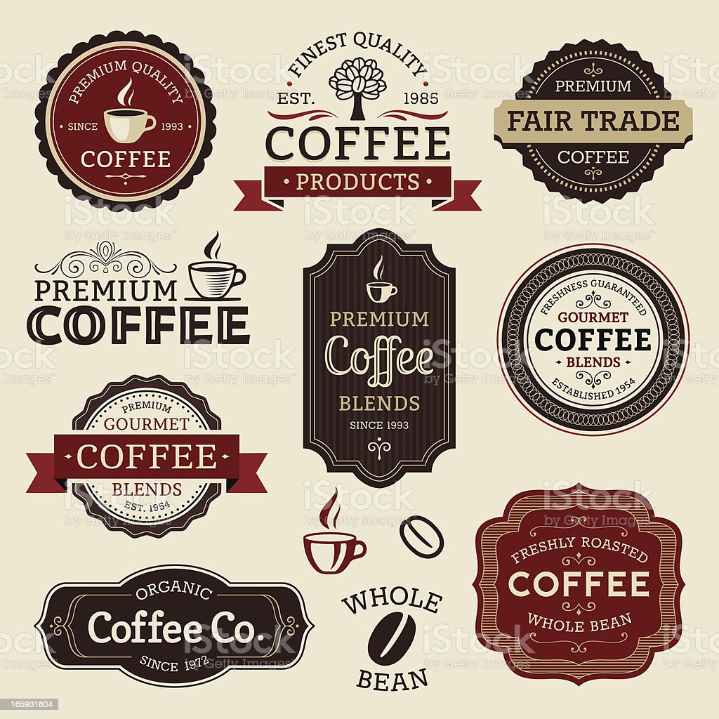 Coffee Labels vector art illustration