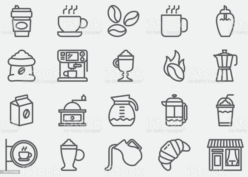 Coffee Line Icons vector art illustration